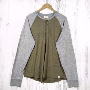 Lucky Brand heather olive & gray Henley jersey